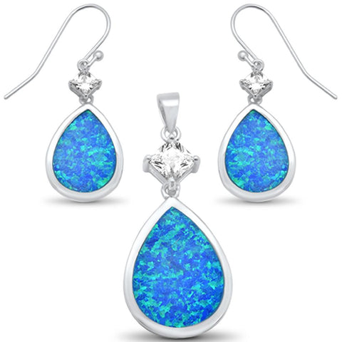 Blue Opal & Cz Pear Shape Dangle Earring & Pendant .925 Sterling Silver Set