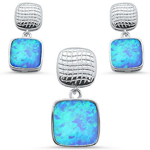 Blue Opal Princess Cut Top & Bottom Dangle Earring & Pendant .925 Sterling Silver Set