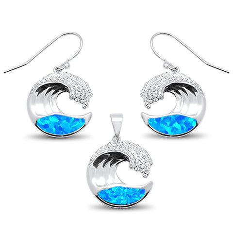 Blue Opal & Cubic Zirconia Ocean Wave Design Earring & Pendant  .925 Sterling Silver Set