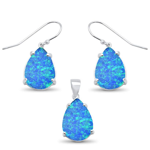 Blue Opal Pear Shape Dangle .925 Sterling Silver Earrings