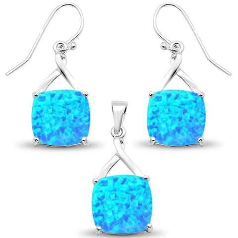 Blue Opal Cushion Dangle Earring & Pendant .925 Sterling Silver Set