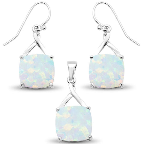 White Opal Cushion Dangle Earring & Pendant .925 Sterling Silver Set