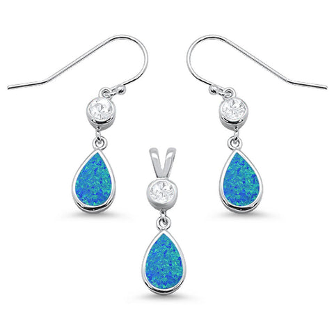 Blue Opal Pear Shape & Cz Dangle Earring & Pendant .925 Sterling Silver Set