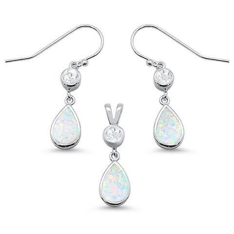 White Opal pear Shape & Cz Dangle Earring & Pendant .925 Sterling Silver Set