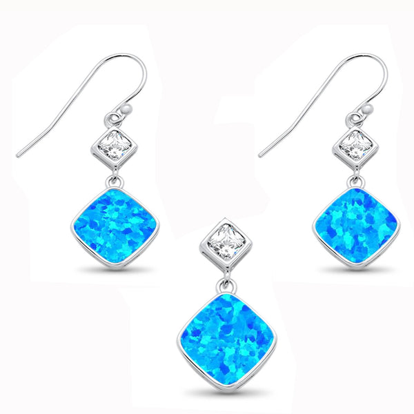 Pincess Cut Blue Opal & CZ Earring & Pendant .925 Sterling Silver Set