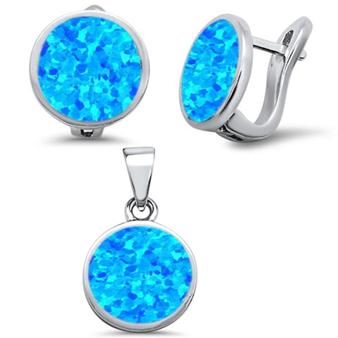 Blue Opal Round Earring & Pendant .925 Sterling Silver Set