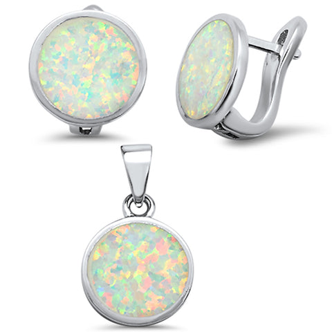 White Opal Round Earring & Pendant .925 Sterling Silver Set