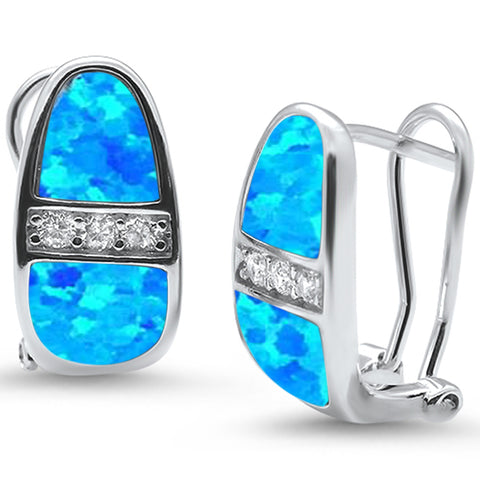 Blue Opal & Cz Latch Back .925 Sterling Silver Earrings