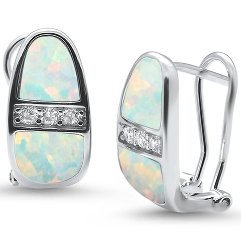 White Opal & Cz Latch Back .925 Sterling Silver Earrings