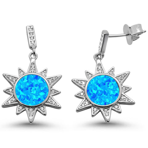Blue Opal Ocean Surf Celestial Sun .925 Sterling Silver Earrings