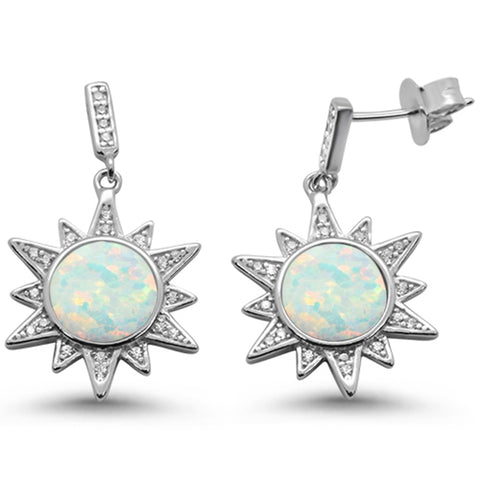 White Opal Ocean Surf Celestial Sun .925 Sterling Silver Earrings