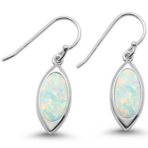 Whit Opal & Cz Marquise Dangle  .925 Sterling Silver Earrings