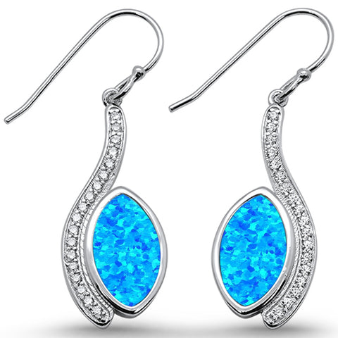 Blue Opal & Cz Marquise Dangle  .925 Sterling Silver Earrings