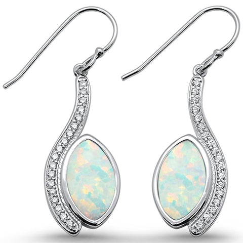 White Opal & Cz Marquise Dangle  .925 Sterling Silver Earrings