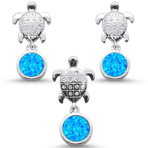 Blue Opal & Cz Turtle Earring & Pendant .925 Sterling Silver Set