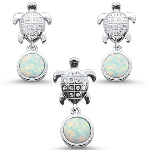 White Opal & Cz Turtle Earring & Pendant .925 Sterling Silver Set