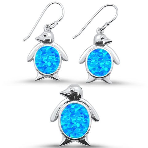 Blue Opal Penguin Dangle Earring & Pendant .925 Sterling Silver Set