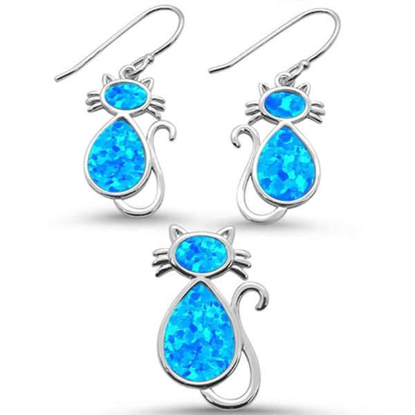 Blue Opal Cat Design Earring & Pendant .925 Sterling Silver Set