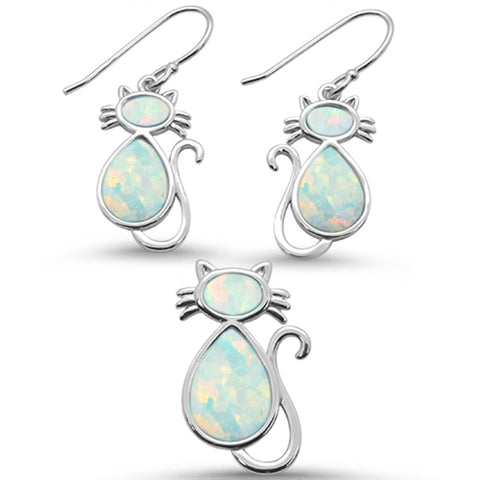 White Opal Cat Design Earring & Pendant .925 Sterling Silver Set