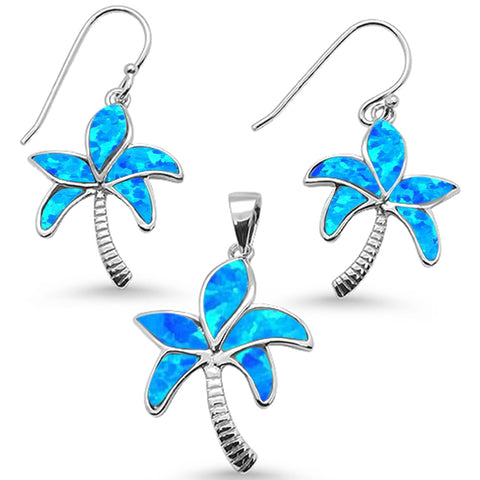 Blue Opal Palm Tree Earring & Pendant .925 Sterling Silver Set