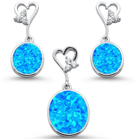 Oval Blue Opal & Cz with Heart Shape Dangle Earring & Pendant .925 Sterling Silver Set