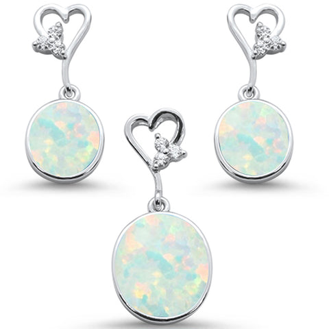 Oval White Opal & Cz with Heart Shape Dangle Earring & Pendant .925 Sterling Silver Set