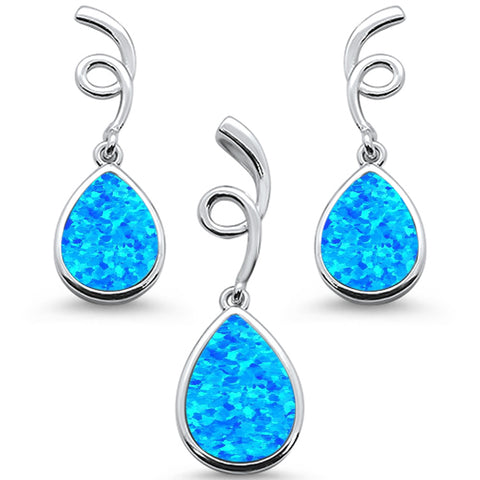 Blue Opal Pear Shape Spiral Dangle Earring & Pendant .925 Sterling Silver Set
