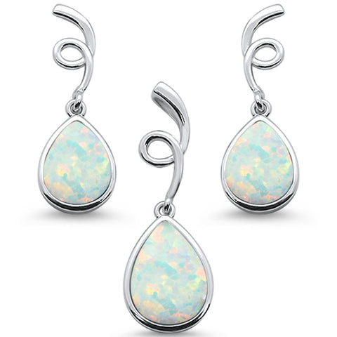 White Opal Pear Shape Spiral Dangle Earring & Pendant .925 Sterling Silver Set