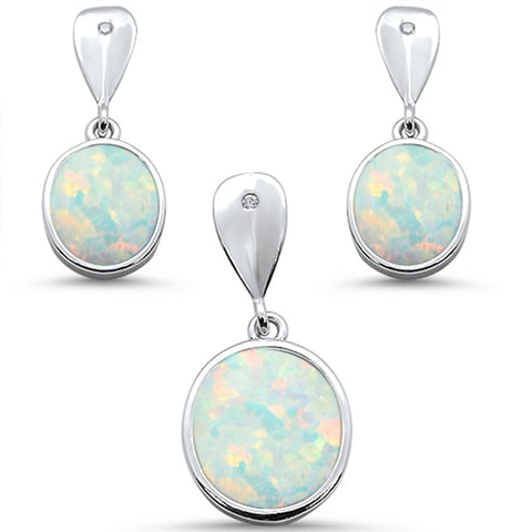 White Opal Oval Dangle Earring & Pendant .925 Sterling Silver Set