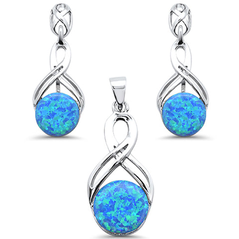 Round Blue Opal Infinity Drop Dangle Earring & Pendant .925 Sterling Silver Set
