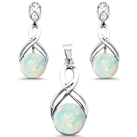 Round Opal Infinity Drop Dangle .925 Sterling Silver Earrings & Pendant Set