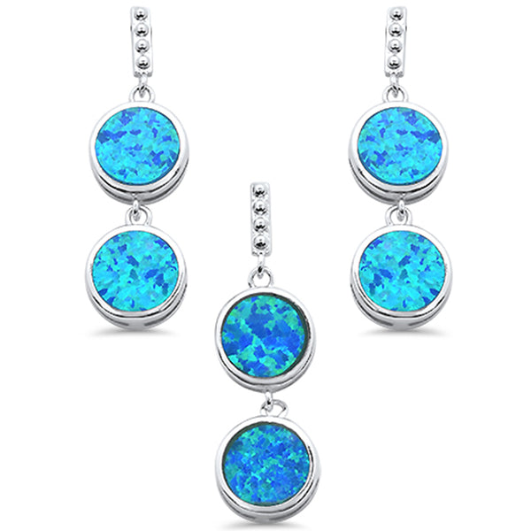 Double Round Blue Opal Dangle Earring & Pendant .925 Sterling Silver Set