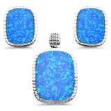 Rectangle Blue Opal Earring & Pendant .925 Sterling Silver Set