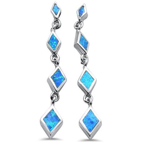 Dangling Blue Opal .925 Sterling Silver Earrings