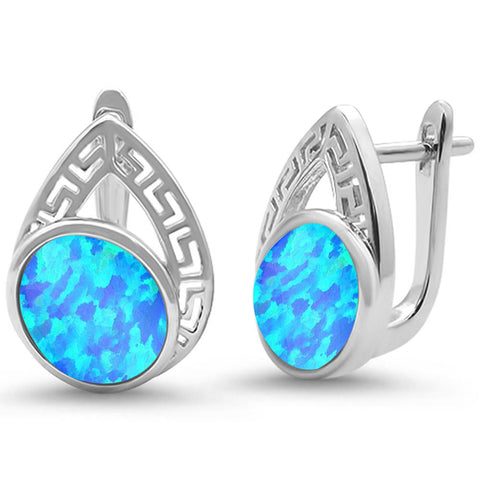 Oval Blue Opal Pear design .925 Sterling Silver Earrings