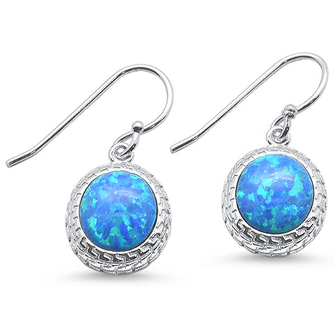 Oval Blue Opal Design .925 Sterling Silver Earrings