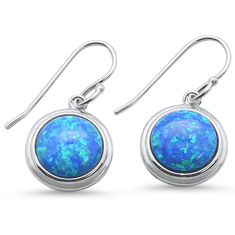 Round Blue Opal  .925 Sterling Silver Earrings