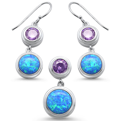 Round Opal  Amethyst Cubic Zirconia .925 Sterling Silver Earrings & Pendant Set