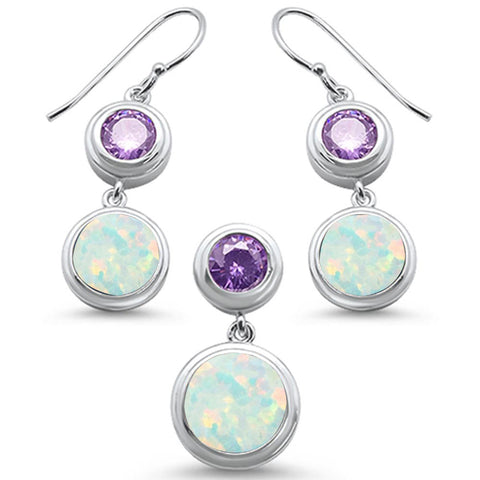 Round Opal Amethyst & Cubic Zirconia .925 Sterling Silver Earring & Pendant Set