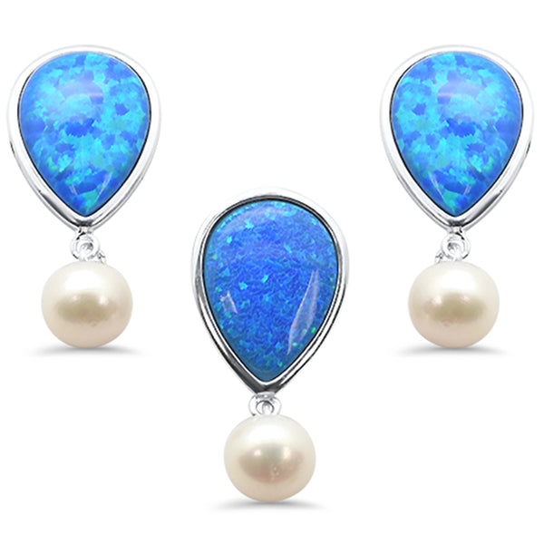 Blue Opal & Mother Pearl .925 Sterling Silver Pendant & Earrings Set
