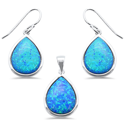 Pear Blue Opal .925 Sterling Silver Pendant & Earring Set