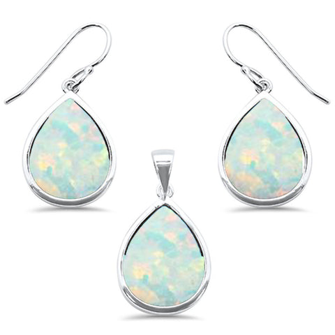 Pear White Opal .925 Sterling Silver Pendant & Earring Set