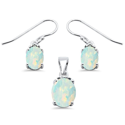 Oval White Opal .925 Sterling Silver Pendant & Earrings Set
