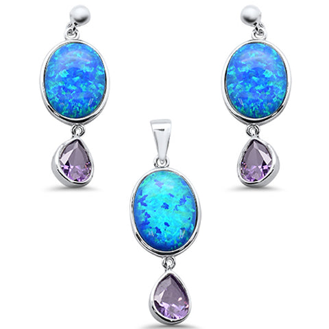 Oval Blue Opal & Pear Amethyst .925 Sterling Silver Pendant & Earring Set