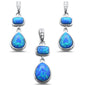 Blue Opal & Cubic Zirconia .925 Sterling Silver Pendant & Earrings Set