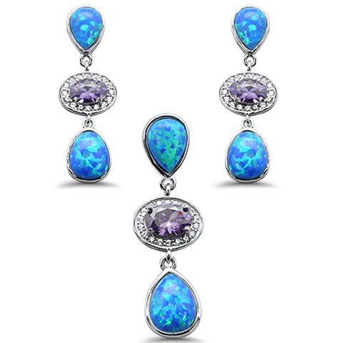 Pear Blue Opal & Amethyst .925 Sterling Silver Pendant & Earring Set