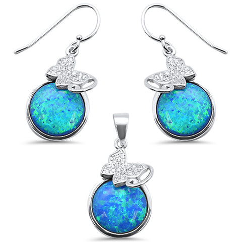 Round Blue Opal & CZ .925 Sterling Silver Pendant & Earring Set