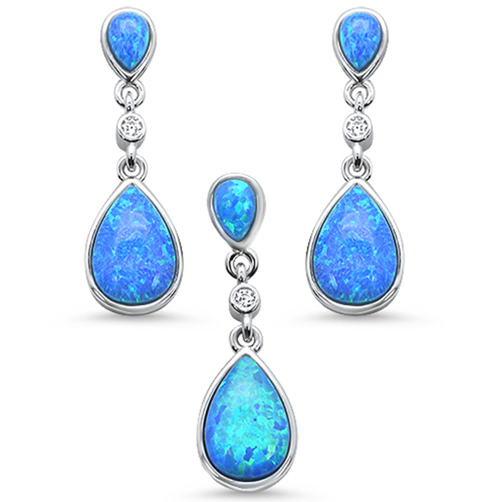 Pear Shape Blue Opal & Round Cz .925 Sterling Silver Pendant & Earring Set