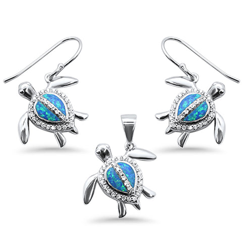 Blue Opal & Cubic Zirconia Turtle .925 Sterling Silver Pendant & Earring Set