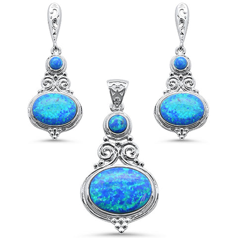 Multi Shape Blue Opal .925 Sterling Silver Pendant & Earring Set